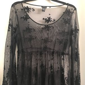 Black lacy embroidered top from Torrid